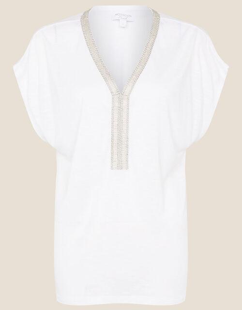 Embroidered Slub Jersey T-Shirt , Ivory (IVORY), large