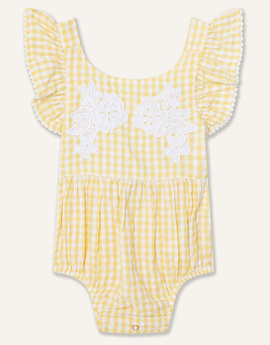 Newborn Lace and Seersucker Romper Yellow, Yellow (YELLOW), large