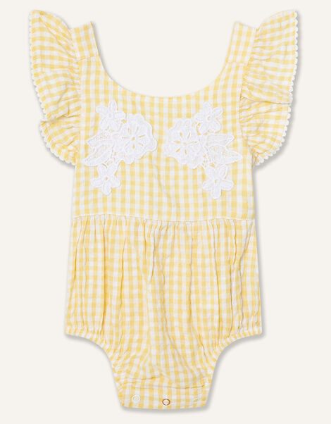 Newborn Lace and Seersucker Romper Yellow, Yellow (YELLOW), large