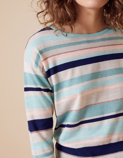 Stripe Lightweight Jumper in Linen Blend, Blue (AQUA), large