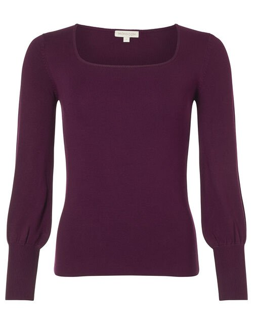 Square Neck Knit Jumper with LENZING™ ECOVERO™, Red (BERRY), large