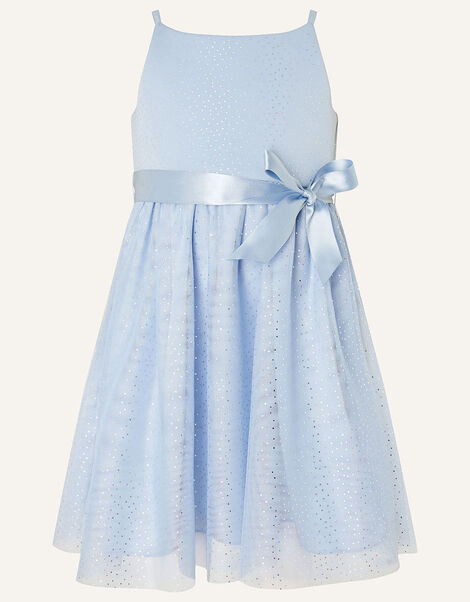 Baby Foil Spot Shimmer Dress Blue, Blue (PALE BLUE), large