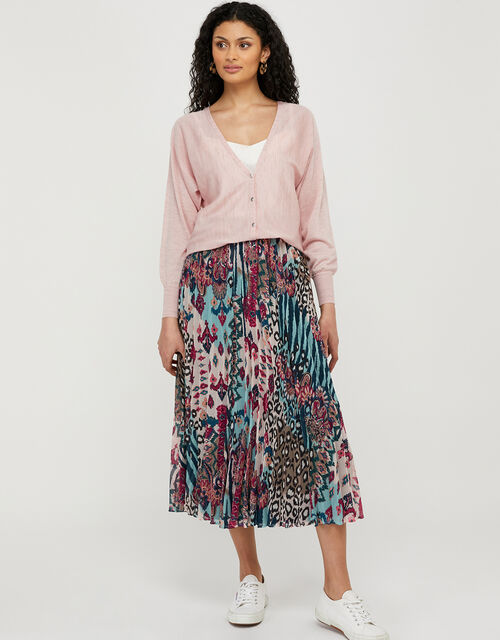 Briyanna Blouson Cardigan in Linen Blend, Pink (BLUSH), large