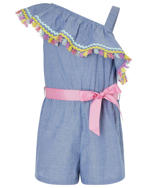 Tassel Trim One-Shoulder Chambray Playsuit Blue, Blue (BLUE), large