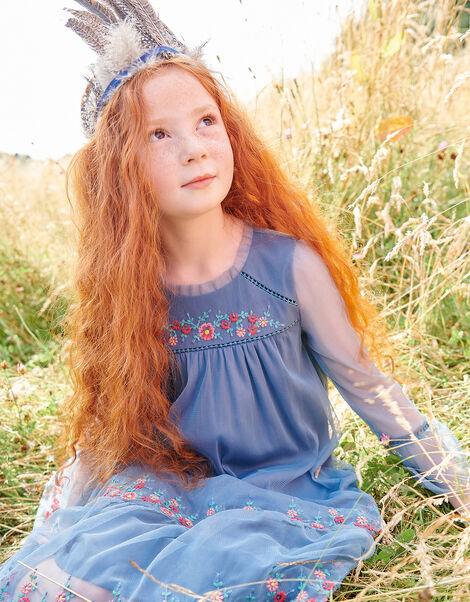 Embroidered Mesh Dress Blue, Blue (BLUE), large