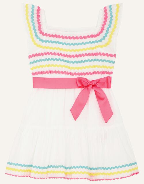 Baby Fiesta Ricrac Dress, White (WHITE), large