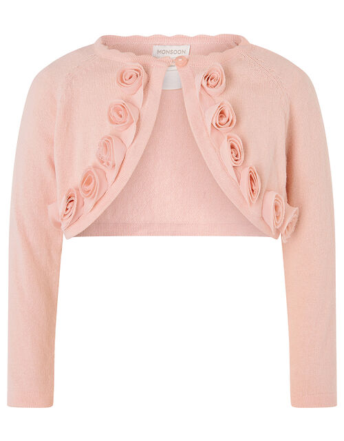 Baby 3D Flower Crop Cardigan, Pink (PINK), large
