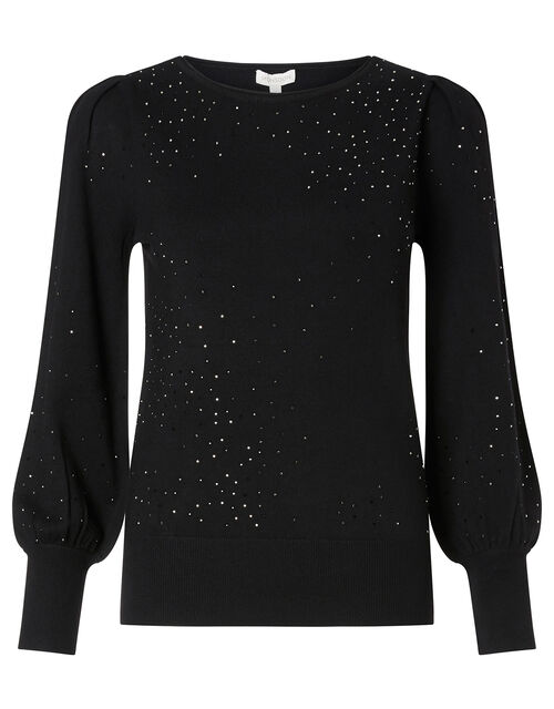 Hotfix Gem Jumper with Sustainable Viscose, Black (BLACK), large