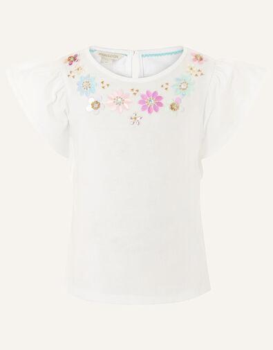 Gem Neckline T-Shirt  White, White (WHITE), large