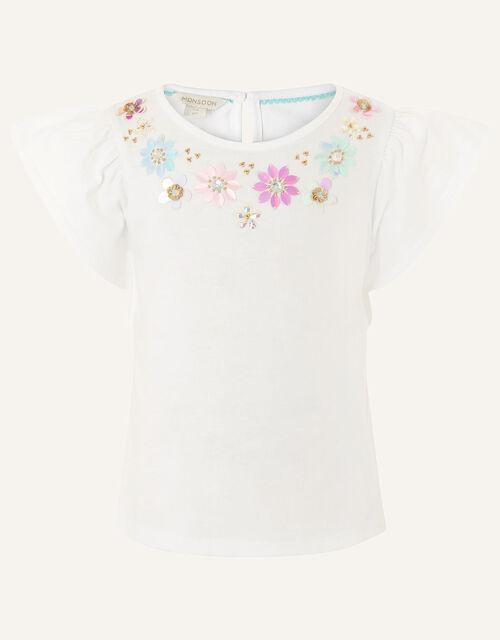 Gem Neckline T-Shirt , White (WHITE), large