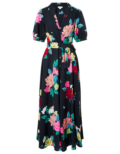 Una Floral Print Shirt Dress, Blue (NAVY), large