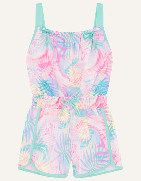 Active Palm Print Playsuit  Pink, Pink (PINK), large