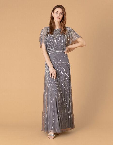 Florence Embellished Flutter Sleeve Maxi Dress Blue, Blue (BLUE), large