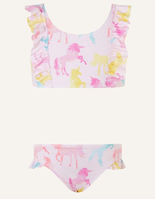 Multi Unicorn Frill Bikini Set, Pink (PALE PINK), large