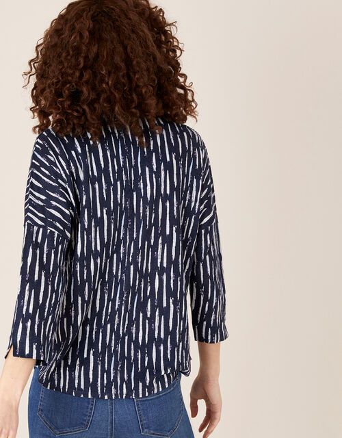 Printed Long Sleeve Top in Pure Linen, Blue (NAVY), large