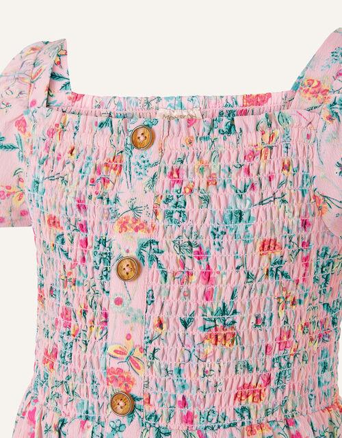 Floral Print Shirred Dress, Pink (PINK), large