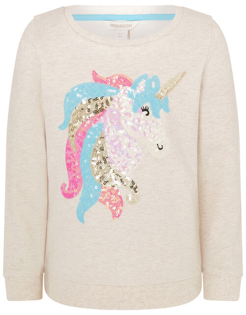 Sequin Unicorn Sweatshirt in Organic Cotton, Camel (OATMEAL), large