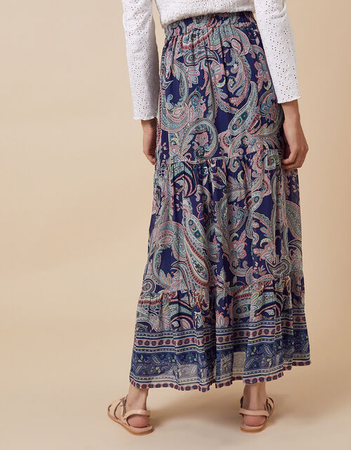 Paisley Print Tiered Midi Skirt, Blue (BLUE), large