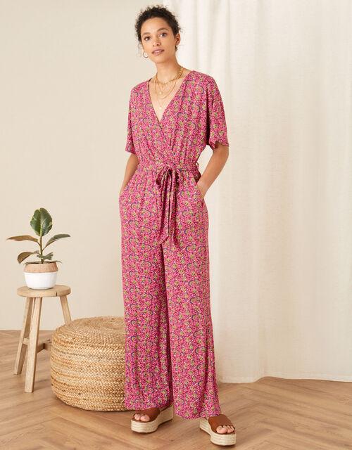 Printed Jersey Wide Leg Jumpsuit, Pink (PINK), large