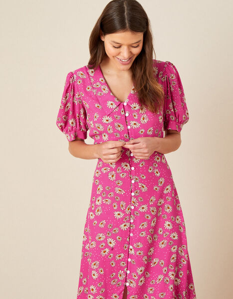 Sonya Floral Shirt Dress Pink, Pink (PINK), large