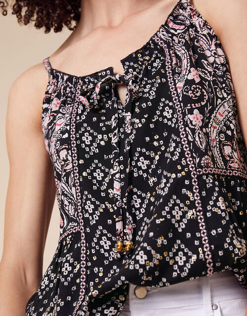 Foil and Paisley Cami Top in LENZING™ ECOVERO™, Black (BLACK), large