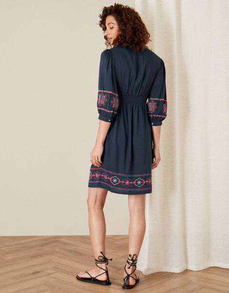 Embroidered Dress in LENZING™ ECOVERO™ Blue, Blue (NAVY), large