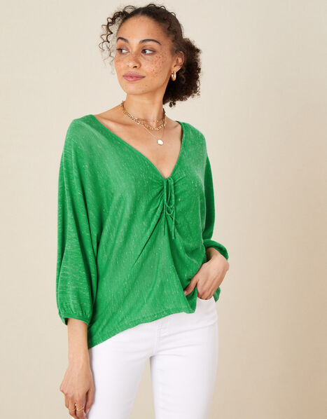 Ruched Jumper in Linen Blend Green, Green (GREEN), large