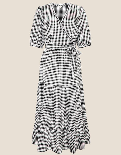 Gingham Wrap Dress in Organic Cotton, Black (BLACK), large