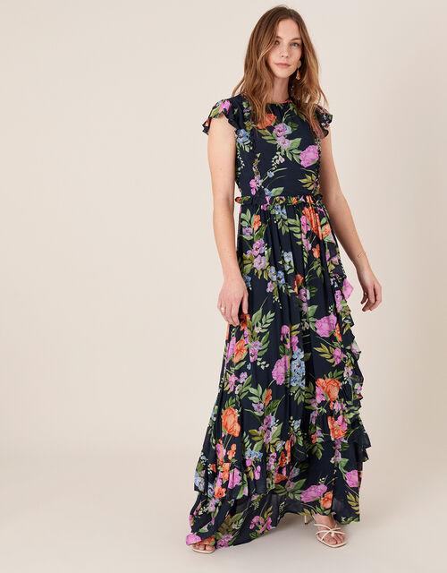 Silvia Floral Print Maxi Dress, Blue (NAVY), large