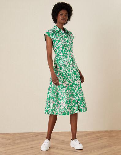 Ditsy Floral Jersey Shirt Dress Green, Green (GREEN), large