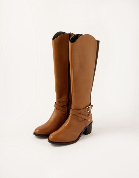Lisa Leather Buckle Riding Boots Tan, Tan (TAN), large