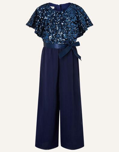 Sequin Flutter Sleeve Jumpsuit  Blue, Blue (NAVY), large