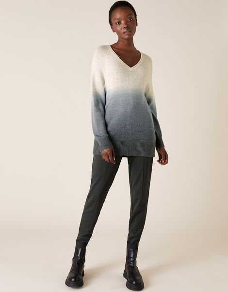 V-Neck Dip-Dye Knit Jumper Grey, Grey (GREY), large
