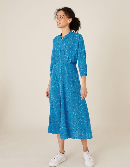 Floral Print Midi Dress, Blue (BLUE), large
