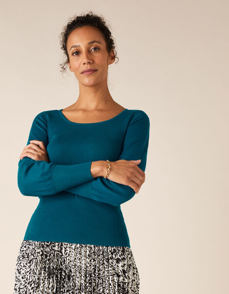 Scoop Neck Rib Jumper Teal, Teal (TEAL), large