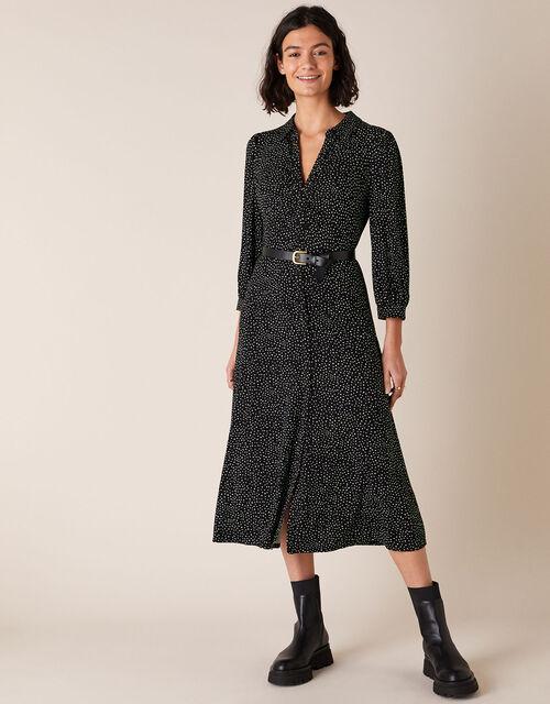 Ditsy Print Shirt Dress with LENZING™ ECOVERO™, Black (BLACK), large