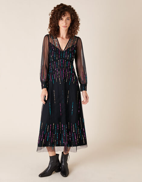 Louise Sequin Midi Dress Black, Black (BLACK), large