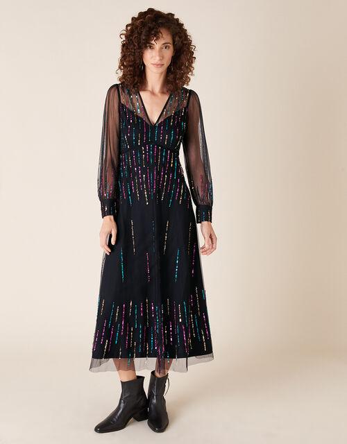 Louise Sequin Midi Dress, Black (BLACK), large