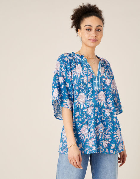 Printed Top in Organic Cotton Blue, Blue (BLUE), large