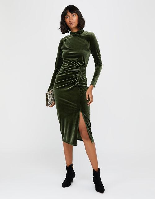 Caitlyn Velvet Long Sleeve Dress, Green, large