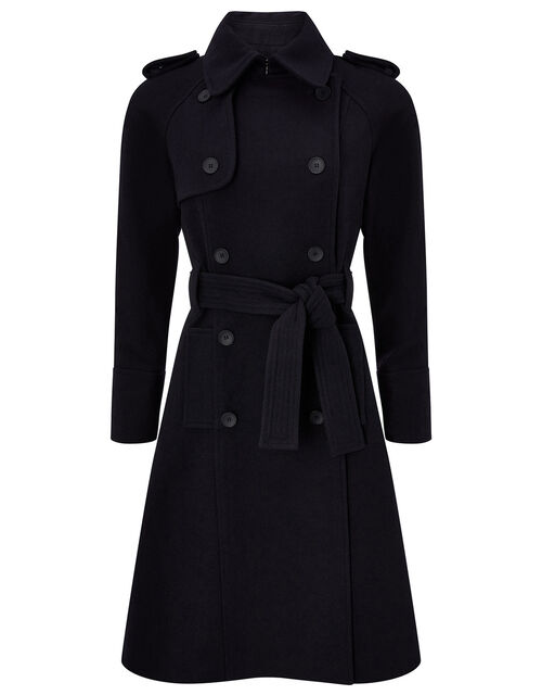 Double-Breasted Trench Coat in Wool Blend, Blue (NAVY), large
