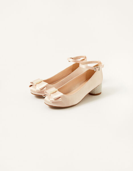 Satin Bow Heels Pink, Pink (PINK), large