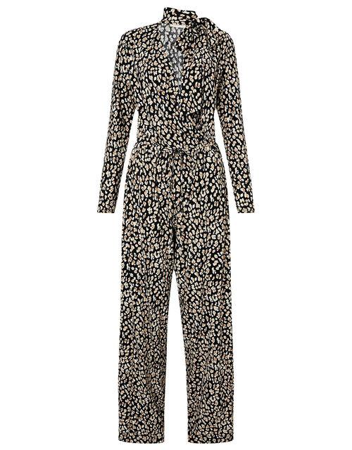 Amelia Animal Print Jersey Jumpsuit, Black (BLACK), large