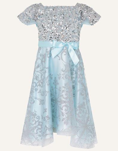 Sequin Glitter Print High Low Dress  Blue, Blue (BLUE), large