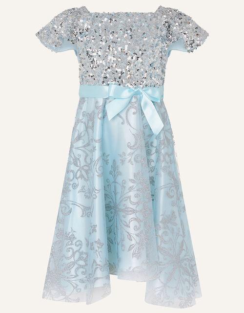 Sequin Glitter Print High Low Dress , Blue (BLUE), large