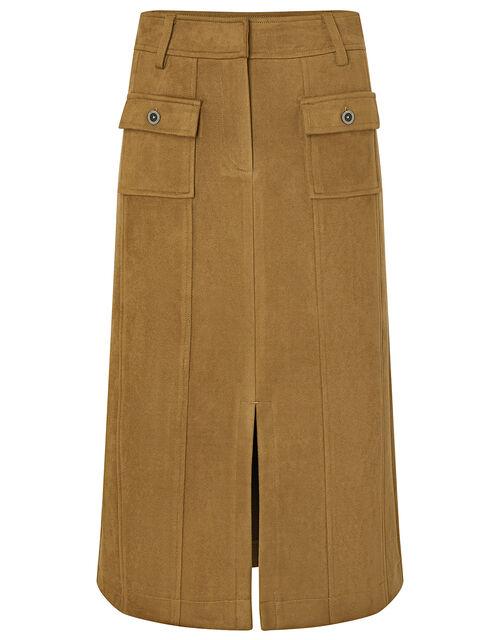 Sally Suedette Midi Skirt, Tan, large