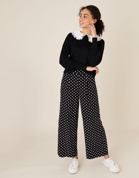 Spot Wide-Leg Trouser with LENZING™ ECOVERO™ Black, Black (BLACK), large