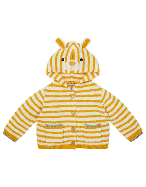 Newborn Bear Stripe Knit Cardigan Yellow, Yellow (MUSTARD), large