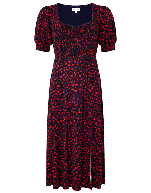 Ditsy Floral Jersey Dress, Blue (NAVY), large