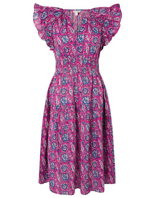 ARTISAN STUDIO Woodblock Print Dress, Pink (PINK), large
